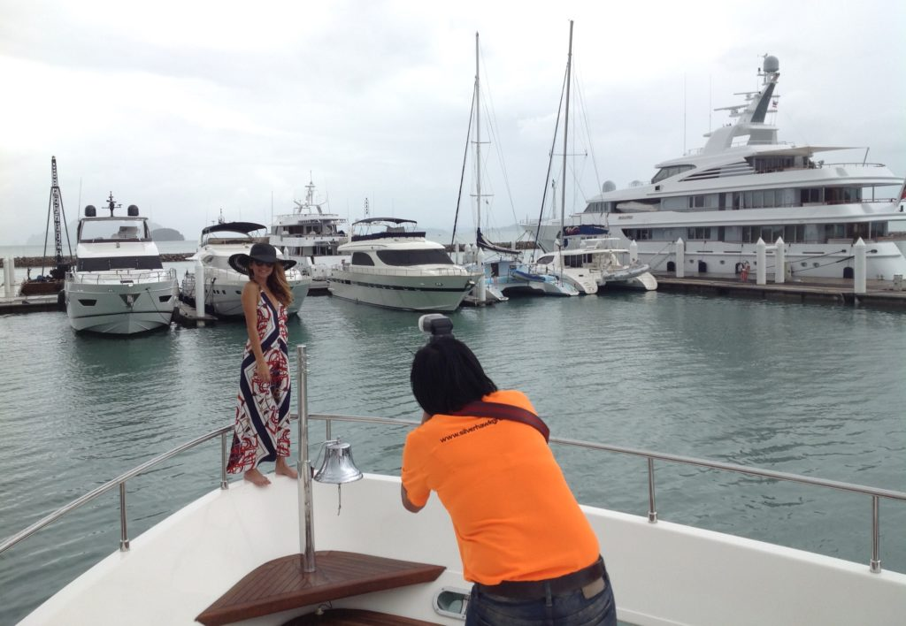 Ambassador of Thailand's Tourism, actress, model, VJ and singer, Ms Anusha Dandekar posed on the superyacht with Phang Nga Bay and a Feadship superyacht as a stunning backdrop.