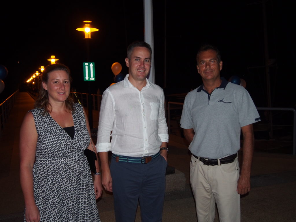 Guests Australia's Consul to Phuket, Craig Ferguson and his wife are greeted by Marina Manager, Derrick Van Deventer at the re-opening of Ao Po Grand Marina's d' deck bar.