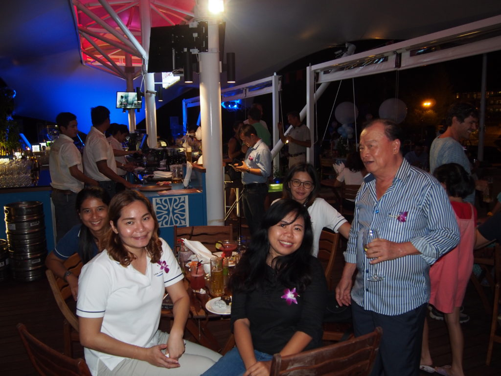 Ao Po Grand Marina's Managing Director, Kasem Chiarasomboon greets guests at the re-opening of d' deck bar.
