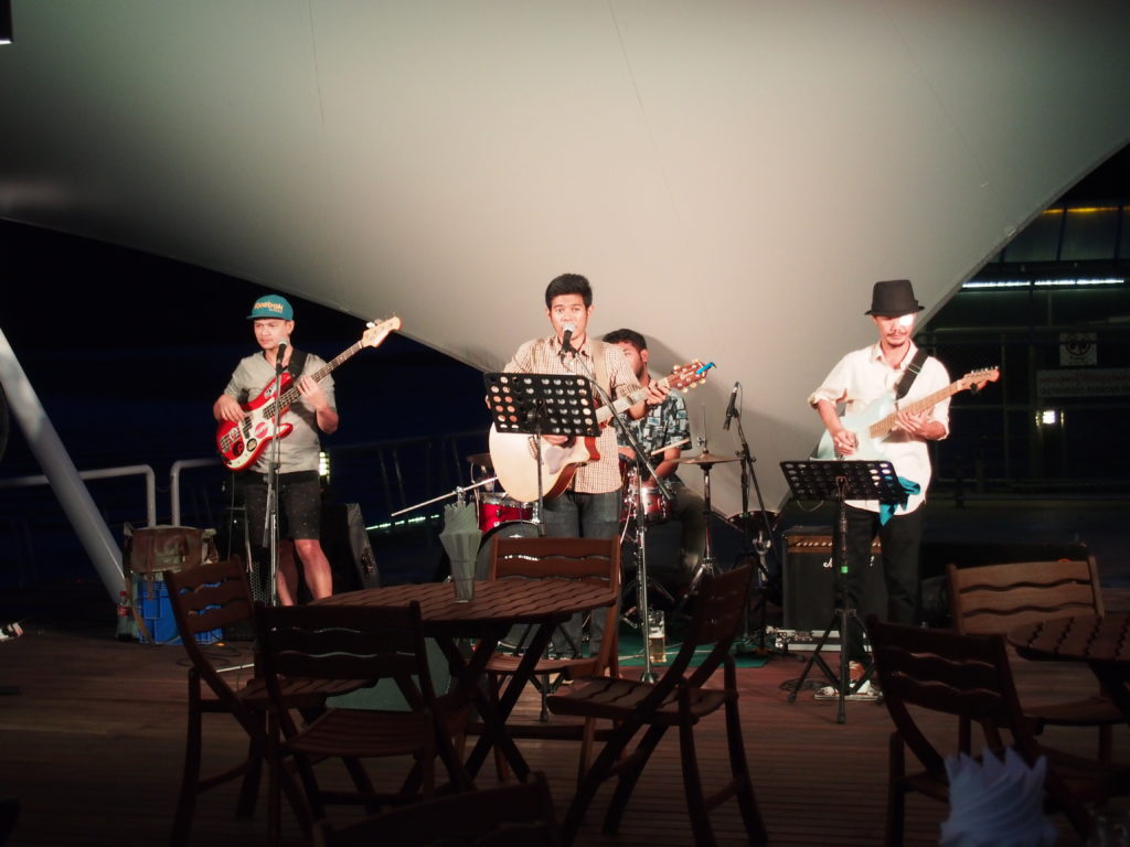 Lively local Thai Band entertained at Ao Po Grand Marina's d' deck bar